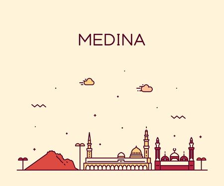 Medina skyline Saudi Arabia vector linear style