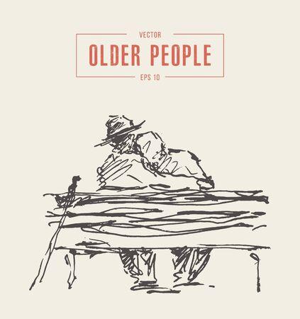 Elderly couple sitting embracing park bench Ilustración de vector