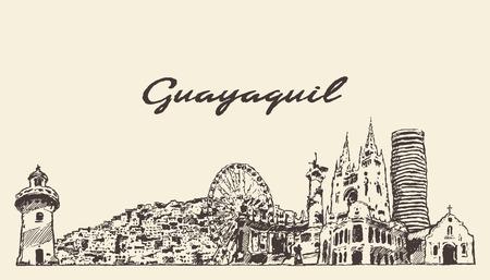Croquis dessiné de main de Guayaquil skyline Equateur