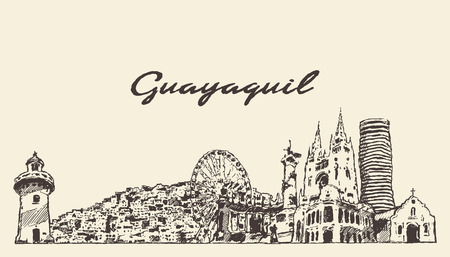 Guayaquil skyline Ecuador hand drawn sketch 矢量图像