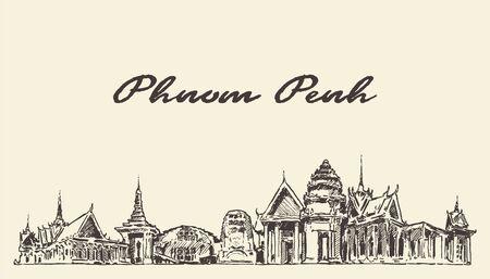 Phnom Penh skylin Cambodia drawn sketch