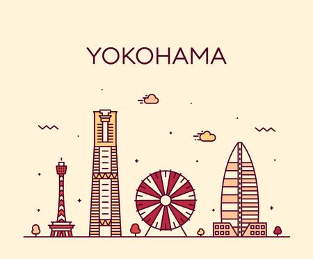 Yokohama skyline, Japan Trendy vector linear style Illusztráció