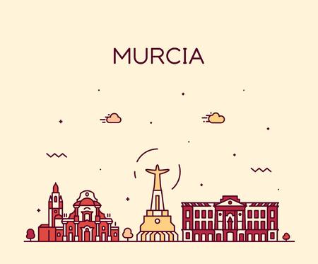 Murcia skyline Spain vector drawn linear style  イラスト・ベクター素材
