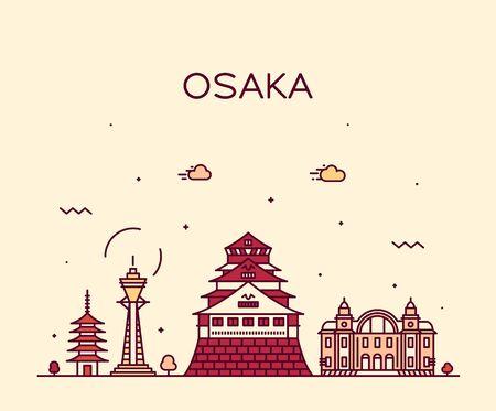 Osaka skyline Japan trendy city vector linear