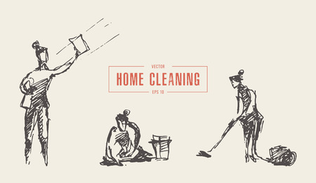 Woman doing housework cleaning apartment a vector