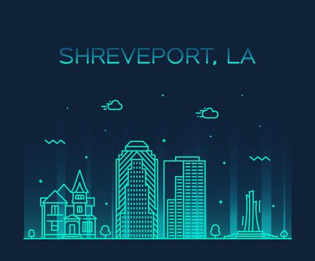 Shreveport skyline Louisiana USA vector city line