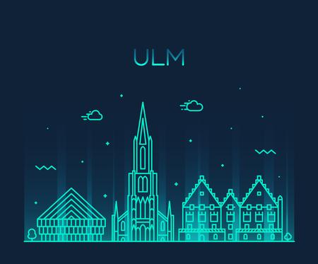 Ulm skyline Germany Baden vector linear style Illusztráció