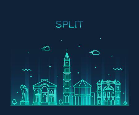 Split skyline Croatia vector illustration a linear Illusztráció