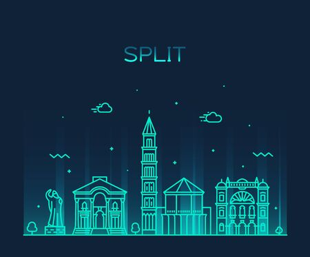 Split skyline Croatia vector illustration a linear Illustration
