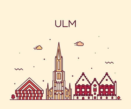 Ulm skyline Germany Baden vector linear style Illustration