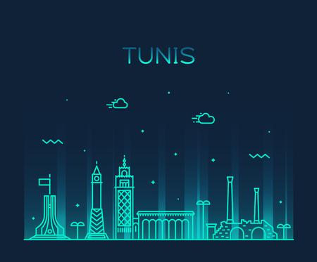 Tunis skyline Tunisia Trendy vector linear style