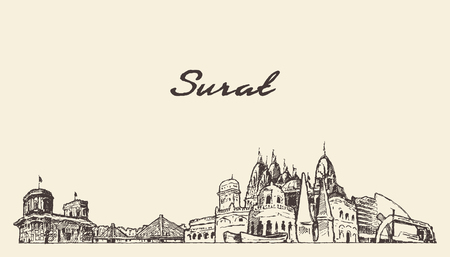 Surat skyline, Gujarat, India, drawn sketch Illustration