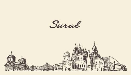 Surat skyline, Gujarat, India, drawn sketch Stock Vector - 127724818