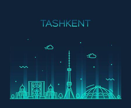Tashkent skyline Uzbekistan a vector linear style