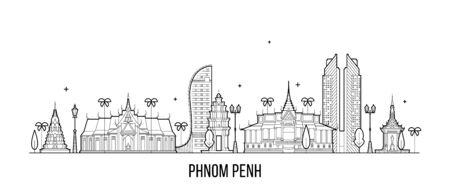Phnom Penh skyline Cambodge ville vector art linéaire Vecteurs