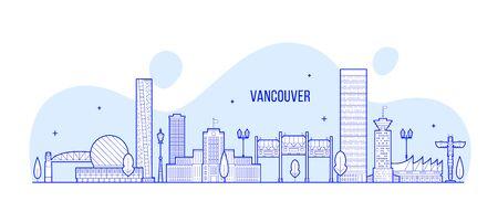 Vancouver skyline Canada city linear art vector