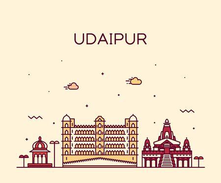 Udaipur skyline Rajasthan India vector line style