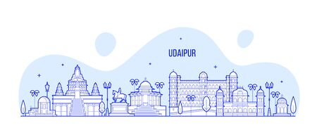 Udaipur skyline Rajasthan India big city vector Illustration