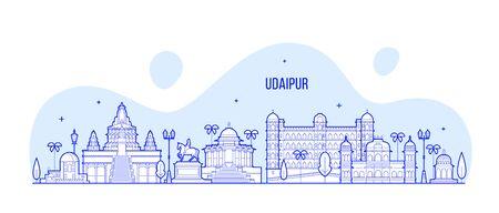 Udaipur skyline Rajasthan India big city vector Illusztráció