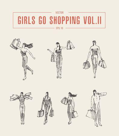 Shopping girl walking bags drawn vector sketch