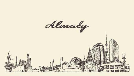 Almaty Skyline Kasachstan handgezeichnete Vektorskizze Vektorgrafik