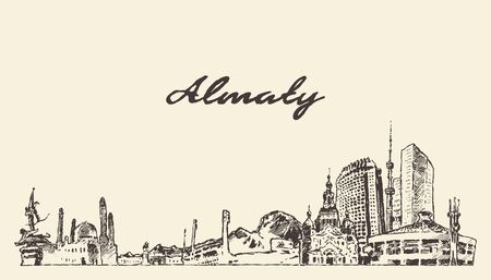 Almaty skyline Kazakhstan hand drawn vector sketch
