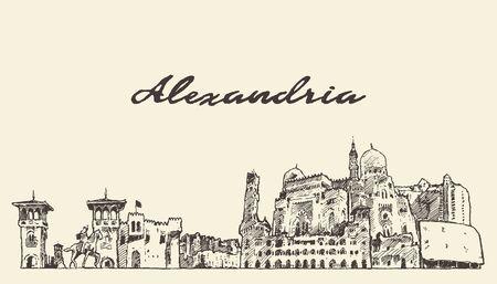 Croquis de vecteur dessiné main Alexandrie skyline Egypte