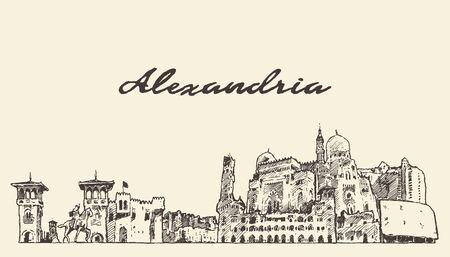 Alexandria skyline Egypt hand drawn vector sketch Illustration