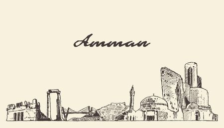 Amman skyline Jordanie croquis de vecteur dessinés à la main Vecteurs