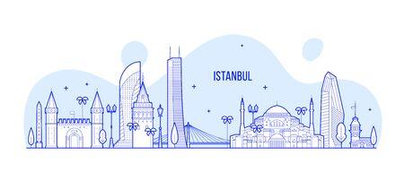 Istanbul skyline Turkey illustration city a vector  イラスト・ベクター素材