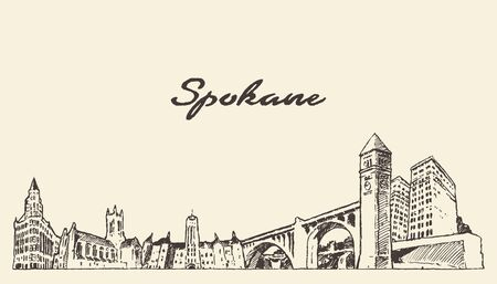 Spokane skyline Washington United States a vector
