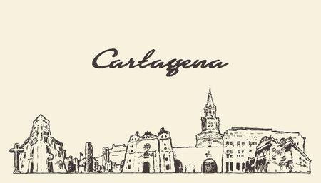 Cartagena skyline Colombia hand draw vector sketch Illusztráció