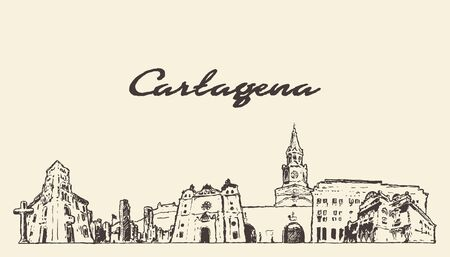 Cartagena skyline Colombia hand draw vector sketch Illustration