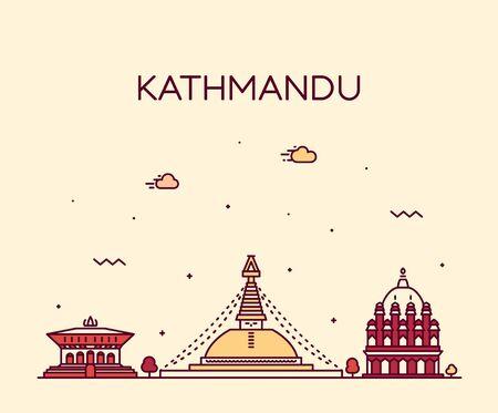 Kathmandu skyline Nepal Trendy vector linear style
