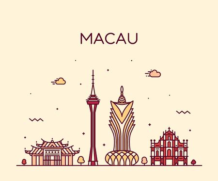 Macau skyline Peopl s Republic China vector linear Çizim