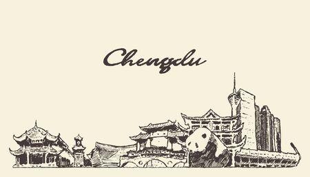 Chengdu skyline Sichuan China drawn vector sketch