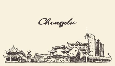Chengdu skyline Sichuan China drawn vector sketch