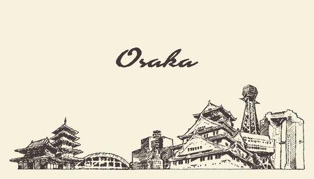 Osaka skyline Japan hand drawn city vector sketch