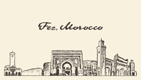 Fez skyline, Morocco, hand drawn vector sketch Banque d'images - 129786753