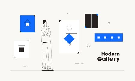 Person modern art gallery works conceptual vector 일러스트