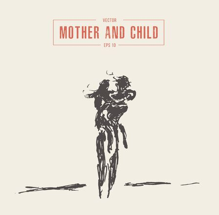 Mother and child running silhouette drawn vector