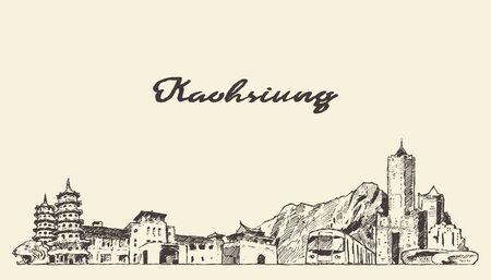Kaohsiung skyline Taiwan vector hand draw sketch