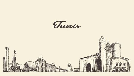 Tunis skyline Republic Tunisia drawn vector sketch