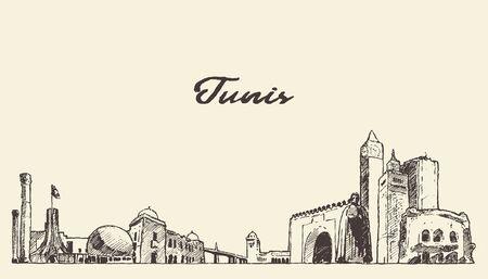Tunis skyline Republic Tunisia drawn vector sketch