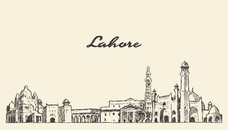 Lahore skyline Punjab Pakistan drawn vector sketch