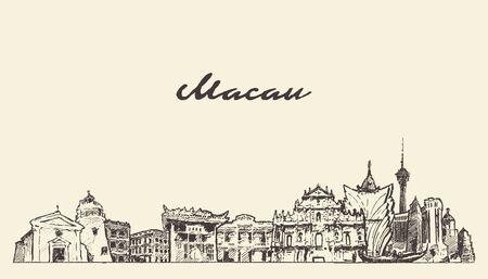 Macau skyline China hand drawn vector sketch