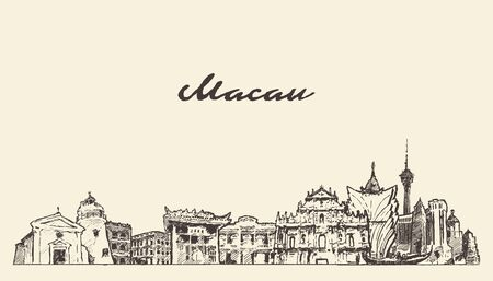 Macau skyline China hand drawn vector sketch
