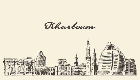 Khartoum skyline Sudan hand drawn vector sketch Vetores
