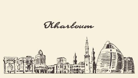 Khartoum skyline Sudan hand drawn vector sketch Illustration