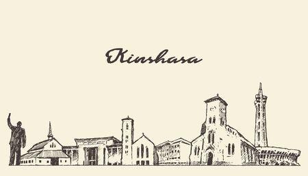 Kinshasa skyline Congo hand drawn vector sketch Illusztráció